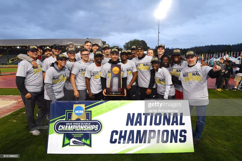 The Georgia Bulldogs celebrate their team victory during the Division I Men's Outdoor Track & Field Championship held at Hayward Field on June 8, 2018 in Eugene, Oregon.