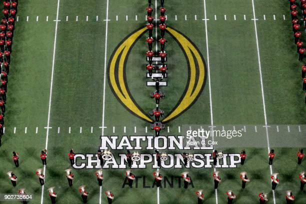 The Georgia Bulldogs Marching Band on field prior to the game against the Alabama Crimson Tide in the CFP National Championship presented by ATT at...