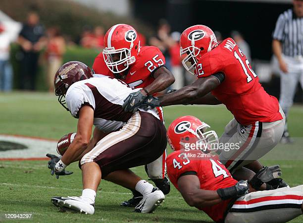The Georgia defense cause a Louisiana Monroe RB to fumble at Sanford Stadium in Athens GA on September 17 2005 The Bulldogs beat the Indians 447