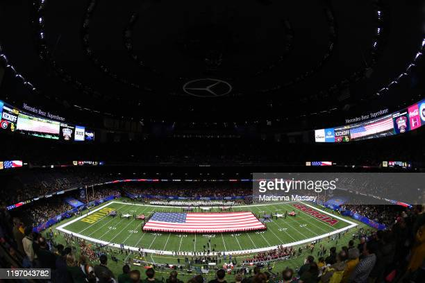 The Georgia Redcoat Marching Band play the National Anthem ahead of the game against Baylor Bears during the Allstate Sugar Bowl at Mercedes Benz...