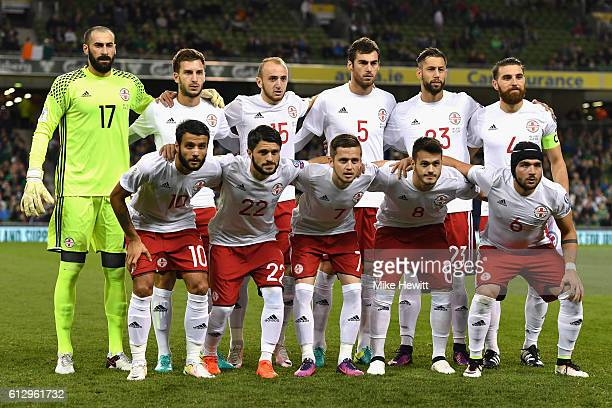 The Georgia squad line up prior to the FIFA 2018 World Cup Group D Qualifier between Republic of Ireland and Georgia at Aviva Stadium on October 6...