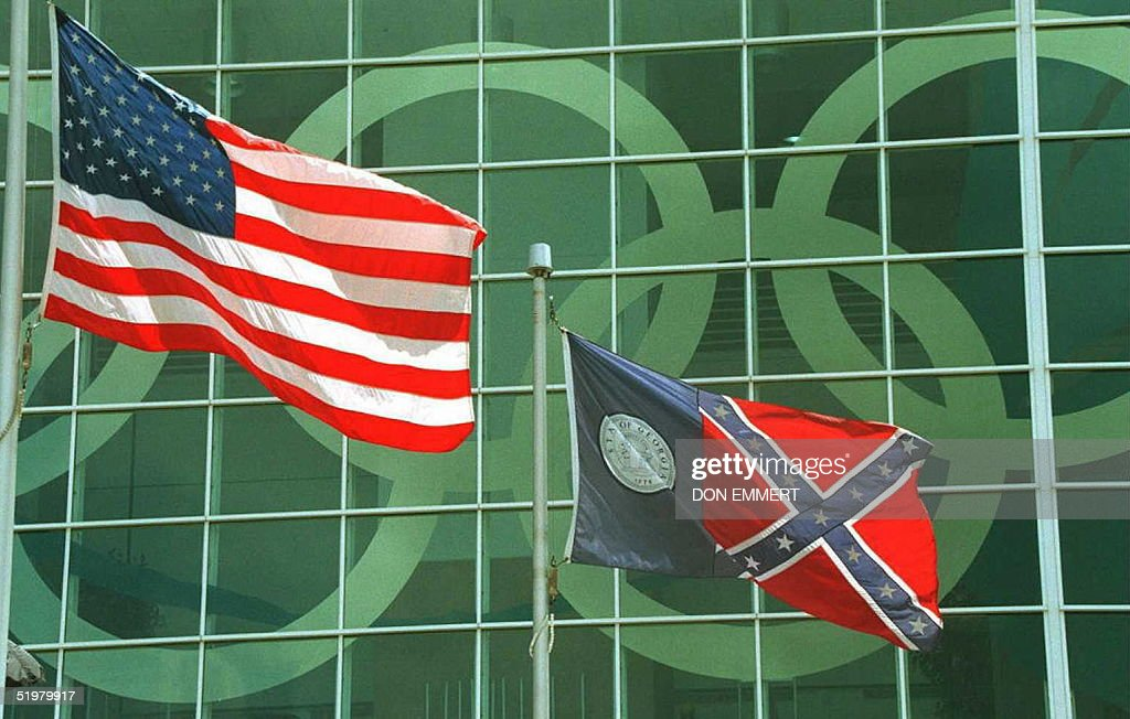 The Georgia state flag, which incorporates the Con : News Photo