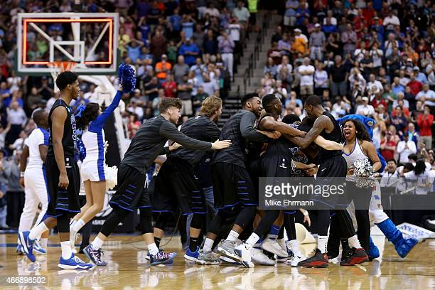 The Georgia State Panthers celebrate after the Panthers win 57-56 against the Baylor Bears in the second round of the 2015 NCAA Men's Basketball...