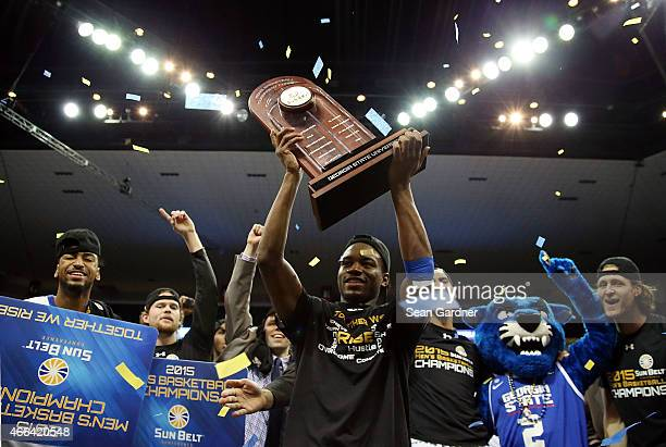 The Georgia State Panthers celebrate after their team defeated the Georgia Southern Eagles during the Sun Belt Conference Men's Championship game at...