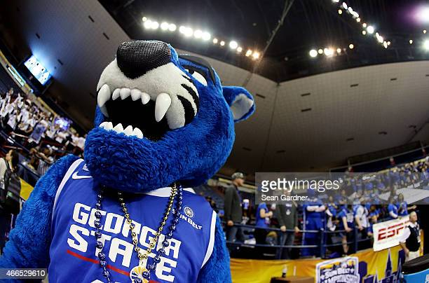 The Georgia State Panthers mascot chears during the Sun Belt Conference Men's Championship game at the UNO Lakefront Arena on March 15 2015 in New...