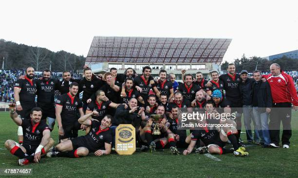 The Georgia team celebrate victory and top spot in the group after the FIRAAER European Nations Cup Division 1A match between Georgia and Romania at...