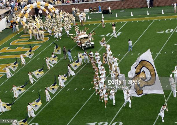 The Georgia Tech Yellow Jackets enter the field at the start of the game as the Virginia Cavaliers defeated the Yellow Jackets 3010 during NCAA...