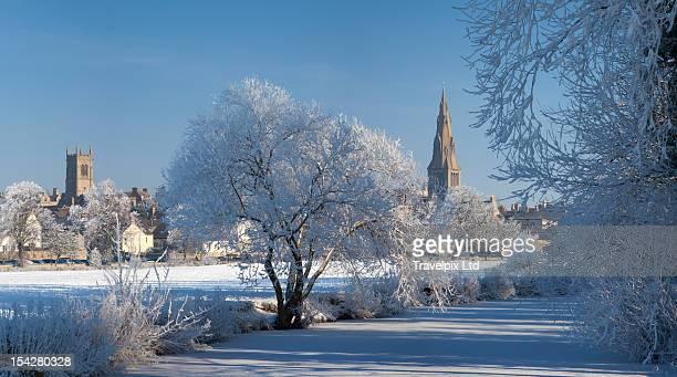 The Georgian town of Stamford in winter