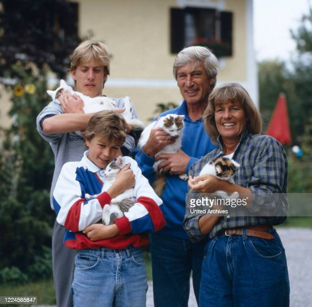 The german actor Siegfried Rauch together with his wife and kids, Germany, 1980.