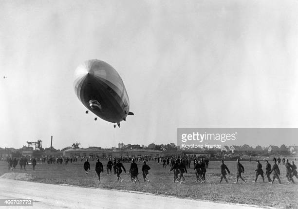 The German Aerostat 'Graf Zeppelin' arrives greeted by the crowd in September 1929 in Friedrichshafen Germany