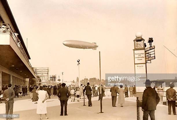 The German airship Graf Zeppelin flies over Friedrichshafen on its first test flight 14th September 1928