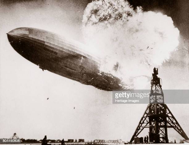 The German airship 'Hindenburg' blows up Lakehurst New Jersey USA 6 May 1937 The passenger airship 'Hindenburg' was destroyed when it caught fire...