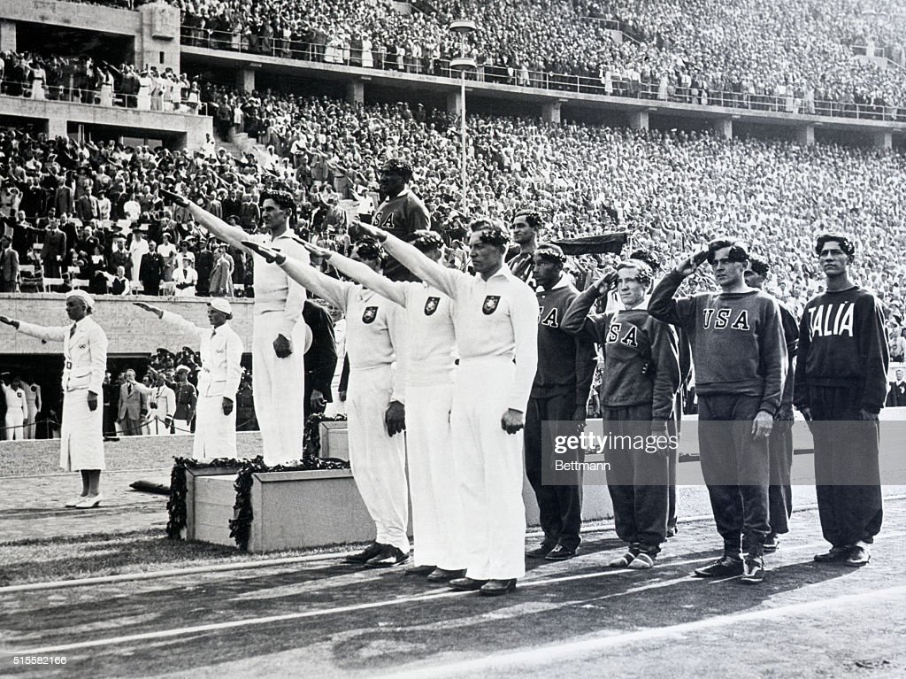 American Relay Team Receiving Gold Medal : News Photo
