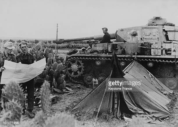 The German Army On The Frontline With A Tank In Tunisia On March 16Th 1943