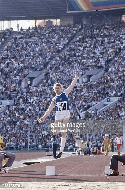 The German athlete Lutz Dombrowski during a race of long jump in the Moscow olympic games Moscow Russian Federation 1980