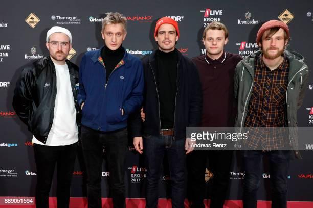 The German band 'Kraftklub' attends the 1Live Krone radio award at Jahrhunderthalle on December 07 2017 in Bochum Germany
