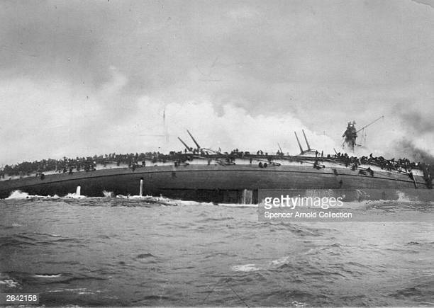 The German battlecruiser Blucher capsizing off Dogger Bank More than 700 of the ship's company were drowned Photo taken from the British Cruiser...