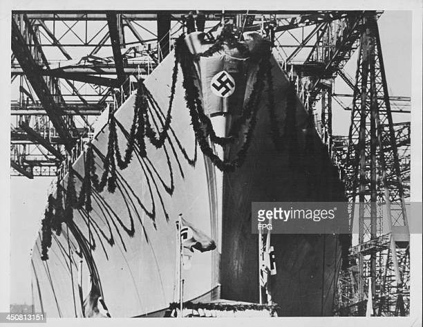 The German battleship 'Bismarck' at the ship's launching ceremony prior to World War Two Germany February 14th 1939