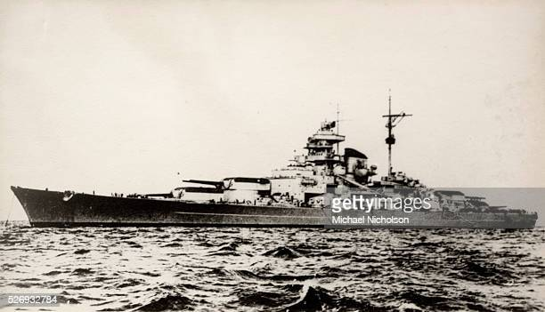The German battleship Bismarck of the German Kriegsmarine during early World War II The ship was laid down at the Blohm Voss shipyard in Hamburg in...