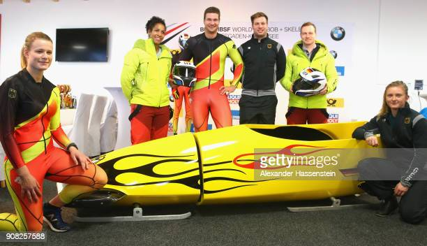 The German bobsleigh team presents the new kit and sled with Anna Köhler Mariama Jamanka Johannes Lochner Nico Walther Francesco Friedrich and...