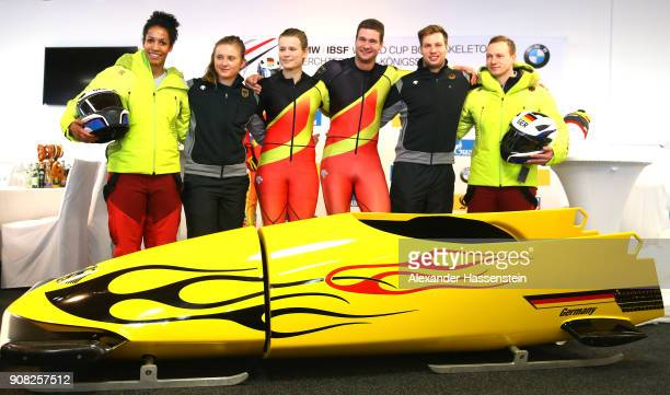 The German bobsleigh team presents the new kit and sled with Mariama Jamanka Stephanie Schneider Anna Köhler Johannes Lochner Nico Walther and...