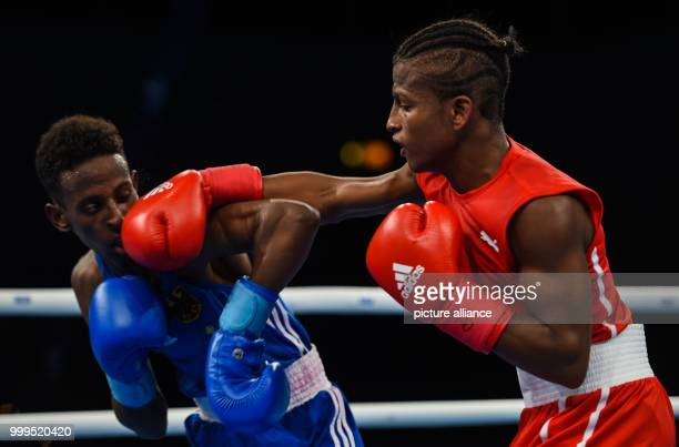 The German boxer Salah Ibrahim Omar fights against the Cuban boxer Joahnys Argilagos in the light flyweight class during the Ameteur's Boxing World...