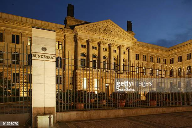 The German Bundesrat or Federal Council stands illuminated on October 7 2009 in Berlin Germany The Bundesrat represents Germany's 16 Laender or...