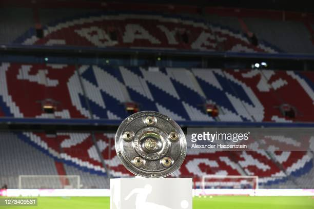 The German Championhip winners trophy is displayed prior to the Bundesliga match between FC Bayern Muenchen and FC Schalke 04 at Allianz Arena on...