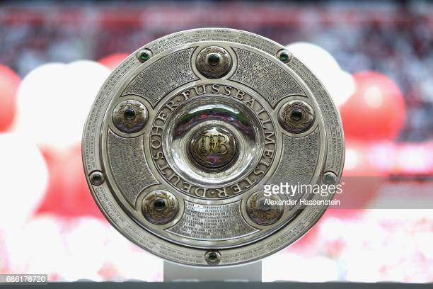 The German Championship trophy is displayed prior to the Bundesliga match between Bayern Muenchen and SC Freiburg at Allianz Arena on May 20, 2017 in...