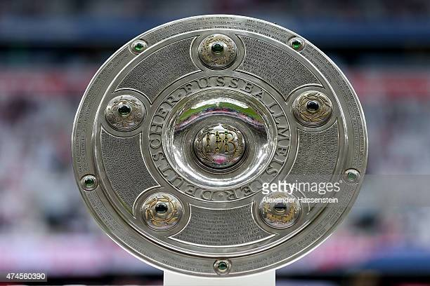 The german champiosnhi winners trophy seen prior to the Bundesliga match between FC Bayern Muenchen and 1. FSV Mainz 05 at the Allianz Arena on May...