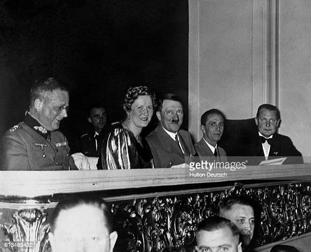 The German Chancellor Adolf Hitler accompanied by Hermann Goering and Joseph Goebbels at a concert given by the Berlin Philarmonic orchestra 1937