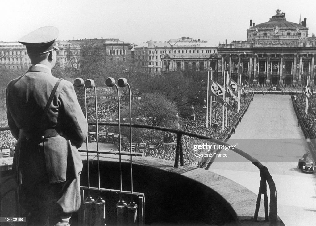 The German Chancellor Adolf HITLER announced the joining (Anschluss) of Austria to Germany at the palace of the Hapsburg dynasty in Vienna on March 14, 1938.