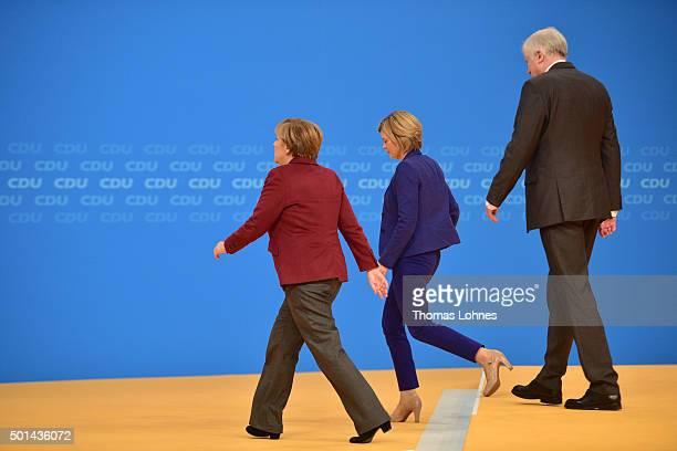 KARLSRUHE GERMANY DECEMBER The German Chancellor and Chairwoman of the German Christian Democrats Angela Merkel deputy chairwoman of CDU party Julia...