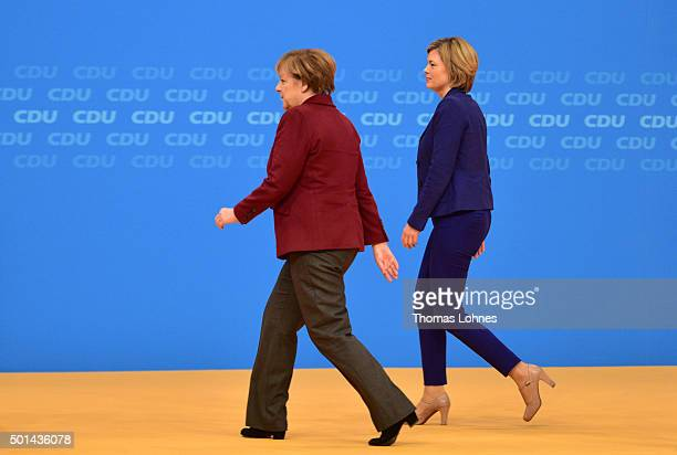 KARLSRUHE GERMANY DECEMBER The German Chancellor and Chairwoman of the German Christian Democrats Angela Merkel and deputy chairwoman of CDU party...