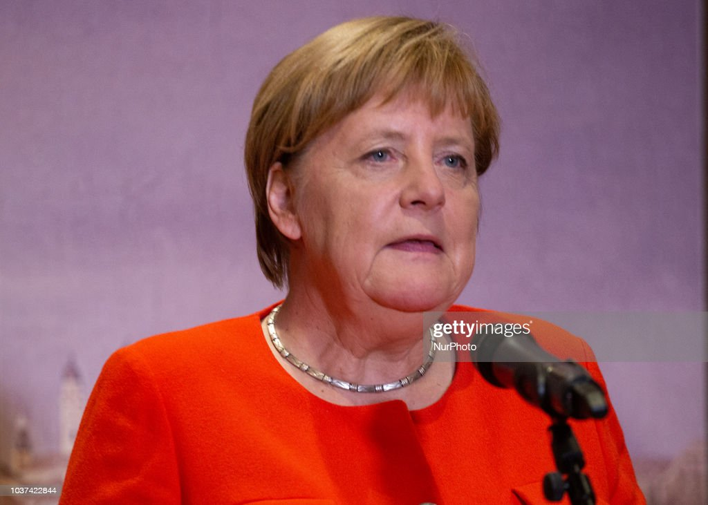 Angela Merkel Giving A Statement In Munich