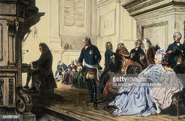 The German composer Johann Sebastian Bach playing the organ for Frederick the Great of Prussia illustration ca 1870 Berlin Archiv Für Kunst Und...