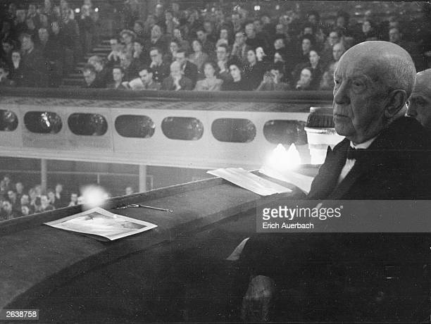 The German composer Richard Strauss , at the Theatre Royal Drury Lane, London when he visited for the Festival in his honour.