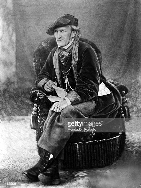 The German composer Richard Wagner sitting on an armchair 1868