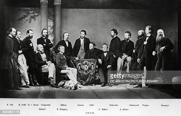 The German composer Richard Wagner surrounded by friends and colleagues at the opening night of Tristan and Isolde in Monaco of Bavaria June 10 1865...
