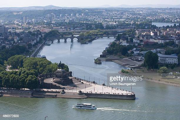 The German corner at the confluence of river Mosel and river Rhine in Koblenz