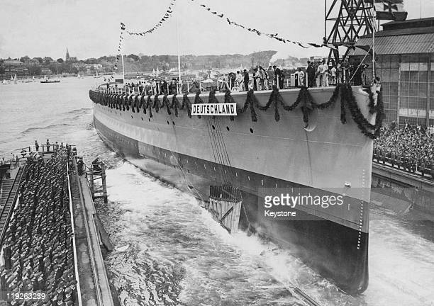 The German cruiser Deutschland the lead ship in its class is launched at the Deutsche Werke shipyard in Kiel Germany 19th May 1931