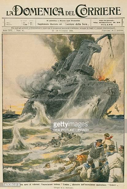 The German cruiser SMS Emden destroyed by the Australian Navy cruiser HMAS Sydney Illustrator Achille Beltrame from La Domenica del Corriere 22nd...
