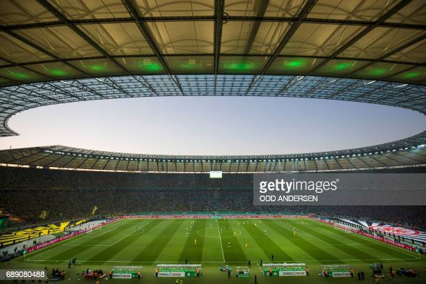 The German Cup final football match Eintracht Frankfurt v BVB Borussia Dortmund is underway at the Olympic stadium in Berlin on May 27 2017 / AFP...