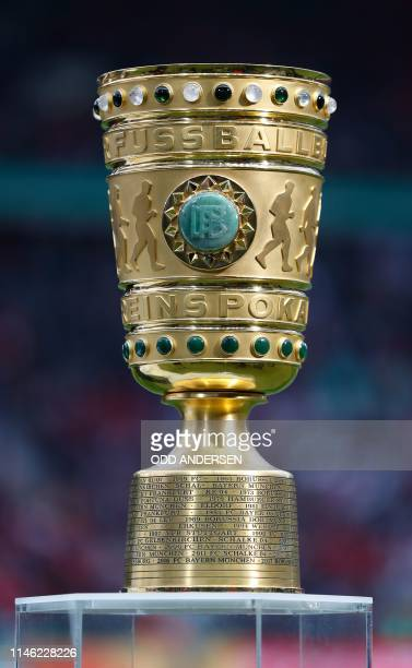 The German Cup trophy is on display prior to the German Cup Final football match RB Leipzig v FC Bayern Munich at the Olympic Stadium in Berlin on...