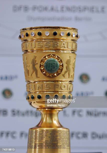 The German cup trophy seen during a news conference on German soccer cup final on May 25 2007 in Berlin Germany Stuttgart meet 1 FC Nuremberg for...