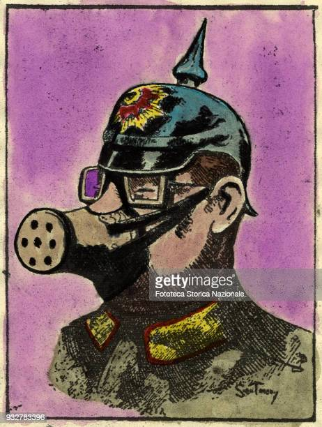 The German defenses target of British humor This is not a caricature but the official model of the mask against the asphyxiating gases used by the...