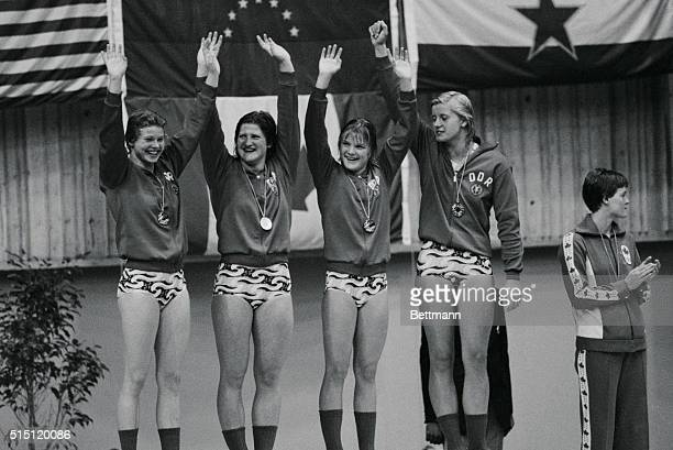 The German Democratic Republic took a gold medal in the women's 4x100meter medley relay finals and set a new world record of 40795 in doing it L_R...