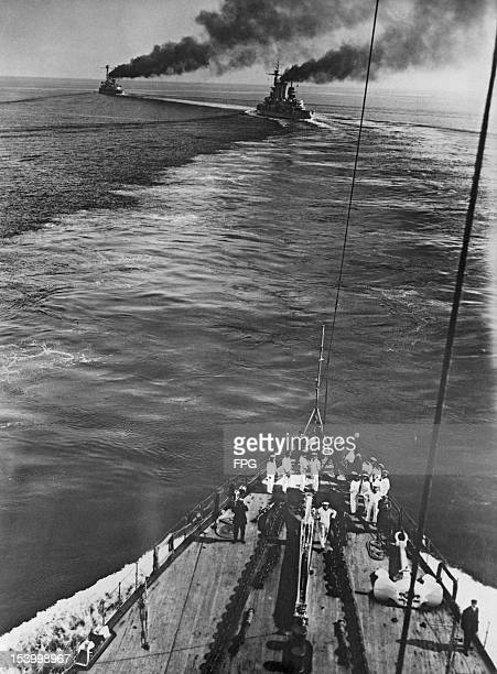 The German Deutschland class battleships SMS Hannover and SMS Schlesien leading the fleet during annual manoeuvres off Kiel September 1930