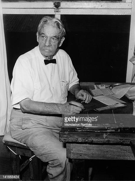 The German doctor Albert Schweitzer at the desk of his study Lambarene March 1961
