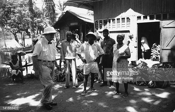 The German doctor Albert Schweitzer heading the general infirmary of the hospital in an African village Lambarene March 1961